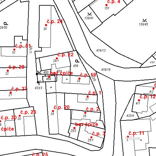 Katastrální mapa Stavební objekt Tišice 19, Tišice