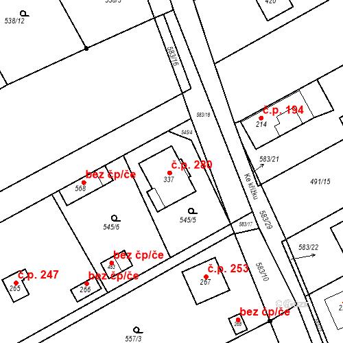 Katastrální mapa Stavební objekt Chrást 280, Tišice
