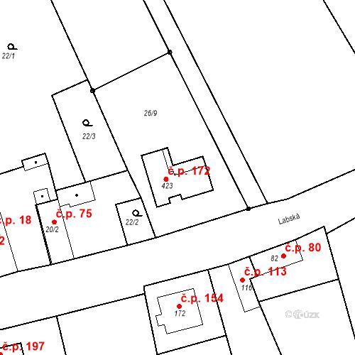 Katastrální mapa Stavební objekt Kozly 172, Tišice