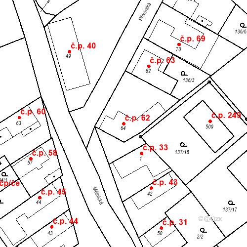 Katastrální mapa Stavební objekt Tišice 62, Tišice