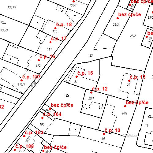 Katastrální mapa Stavební objekt Bystřice 15, Bystřice