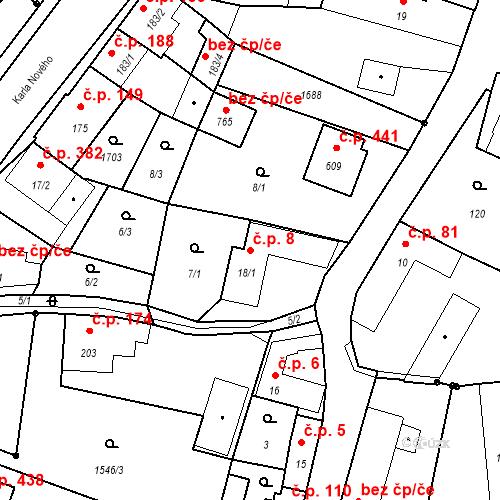 Katastrální mapa Stavební objekt Bystřice 8, Bystřice