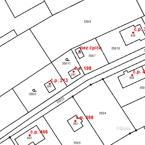 Katastrální mapa Stavební objekt Chrást 198, Tišice