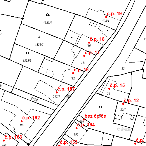 Katastrální mapa Stavební objekt Bystřice 16, Bystřice