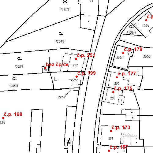 Katastrální mapa Stavební objekt Bystřice 199, Bystřice