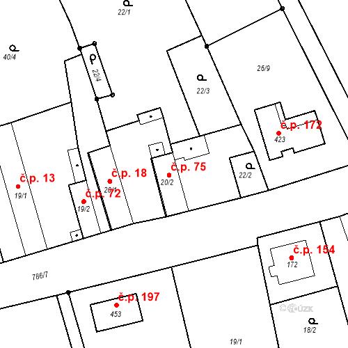 Katastrální mapa Stavební objekt Kozly 75, Tišice