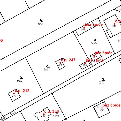 Katastrální mapa Stavební objekt Chrást 247, Tišice