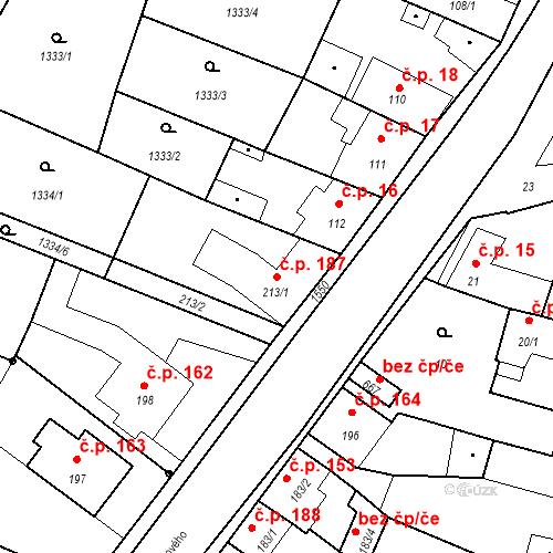 Katastrální mapa Stavební objekt Bystřice 187, Bystřice