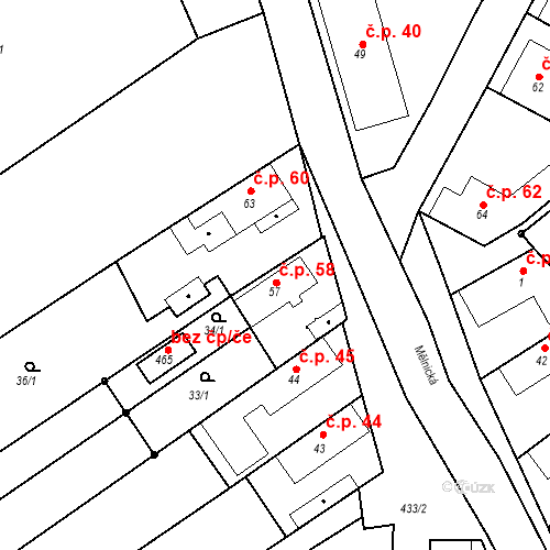 Katastrální mapa Stavební objekt Tišice 58, Tišice