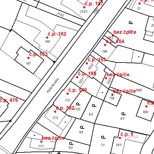 Katastrální mapa Stavební objekt Bystřice 188, Bystřice