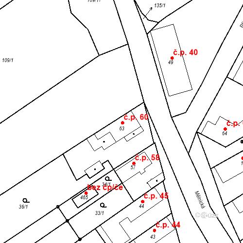 Katastrální mapa Stavební objekt Tišice 60, Tišice