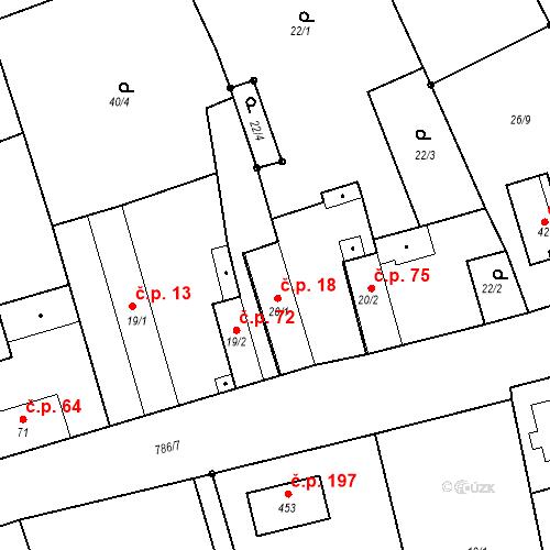 Katastrální mapa Stavební objekt Kozly 18, Tišice