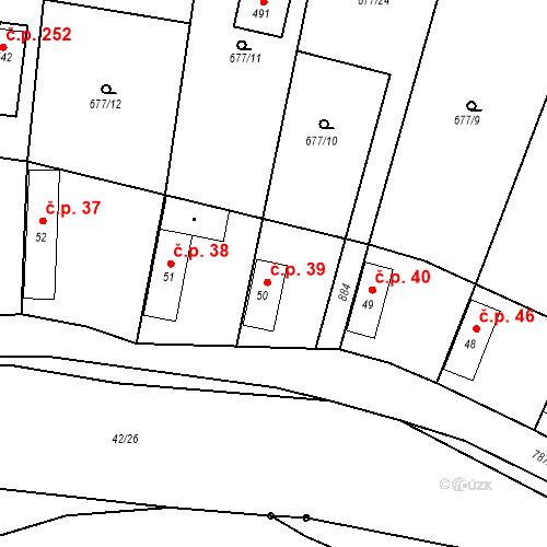 Katastrální mapa Stavební objekt Kozly 39, Tišice