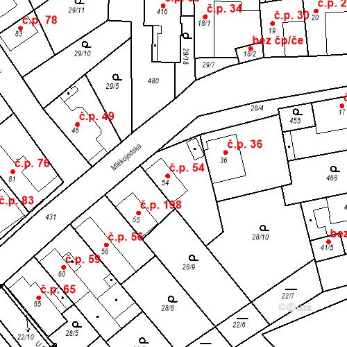 Katastrální mapa Stavební objekt Tišice 54, Tišice