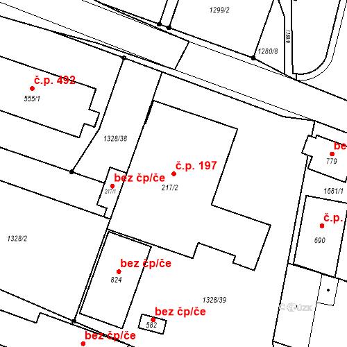 Katastrální mapa Stavební objekt Bystřice 197, Bystřice