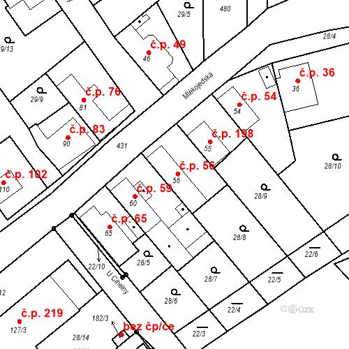 Katastrální mapa Stavební objekt Tišice 56, Tišice