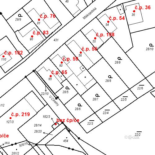 Katastrální mapa Stavební objekt Tišice 59, Tišice