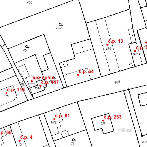 Katastrální mapa Stavební objekt Kozly 64, Tišice