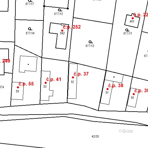 Katastrální mapa Stavební objekt Kozly 37, Tišice