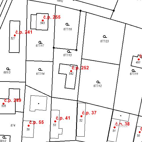 Katastrální mapa Stavební objekt Kozly 252, Tišice