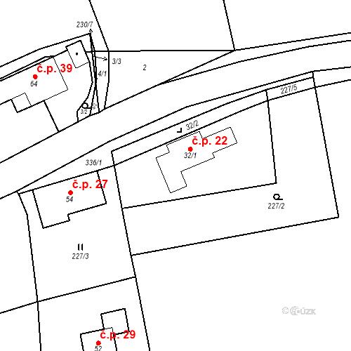 Katastrální mapa Stavební objekt Radimovice 22, Petříkov