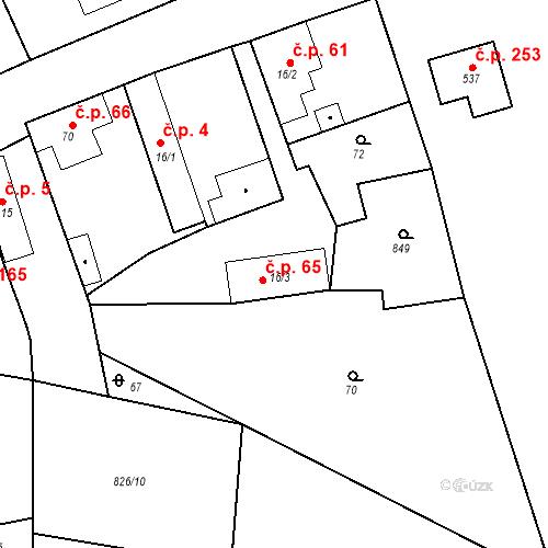 Katastrální mapa Stavební objekt Kozly 65, Tišice