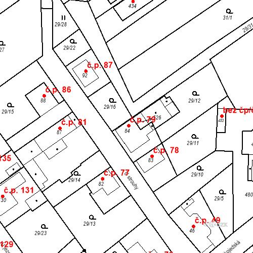 Katastrální mapa Stavební objekt Tišice 79, Tišice