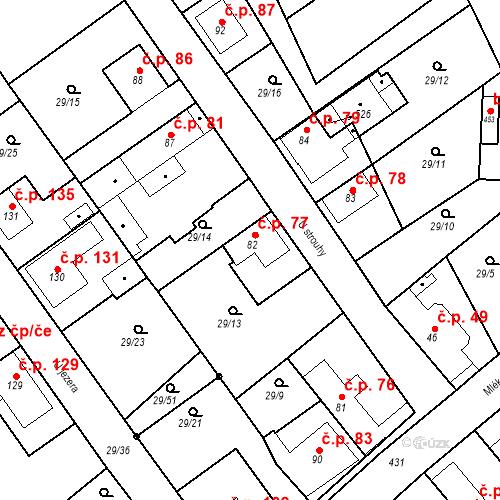 Katastrální mapa Stavební objekt Tišice 77, Tišice