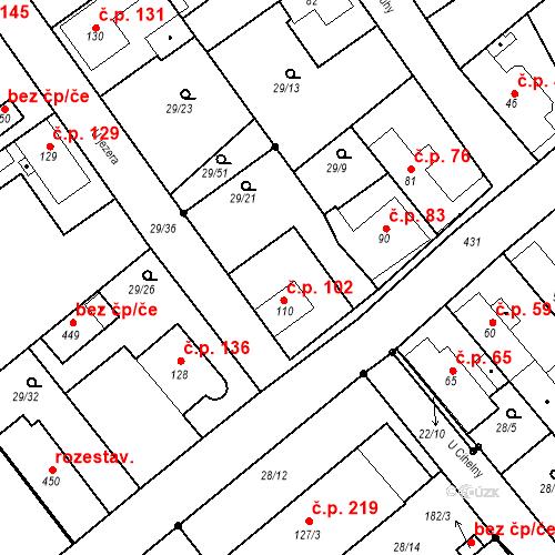 Katastrální mapa Stavební objekt Tišice 102, Tišice