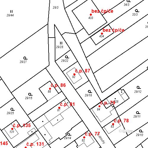 Katastrální mapa Stavební objekt Tišice 87, Tišice