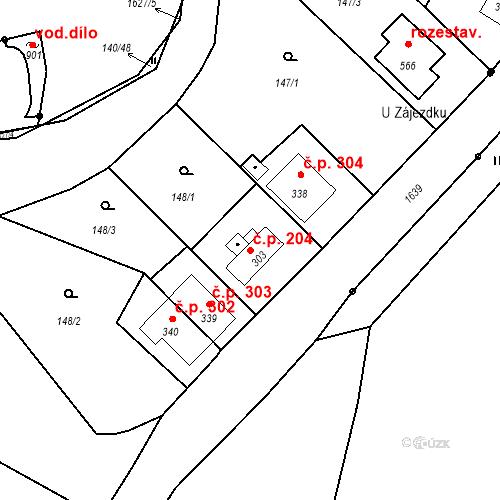 Katastrální mapa Stavební objekt Bystřice 204, Bystřice