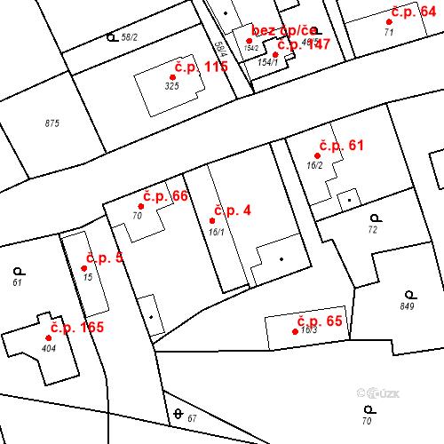 Katastrální mapa Stavební objekt Kozly 4, Tišice