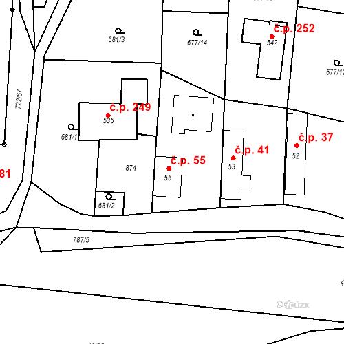 Katastrální mapa Stavební objekt Kozly 55, Tišice
