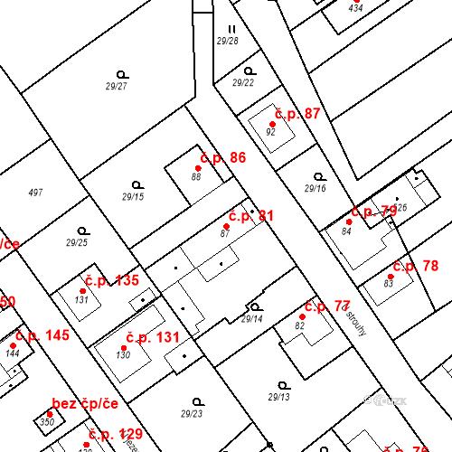 Katastrální mapa Stavební objekt Tišice 81, Tišice