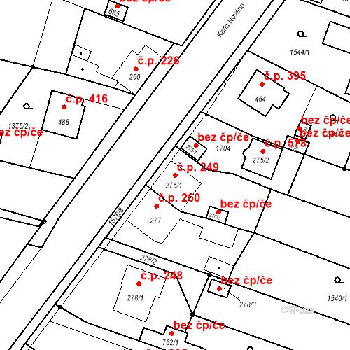 Katastrální mapa Stavební objekt Bystřice 249, Bystřice
