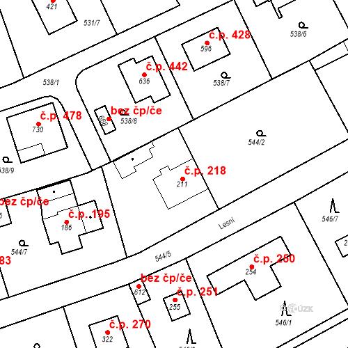 Katastrální mapa Stavební objekt Chrást 218, Tišice
