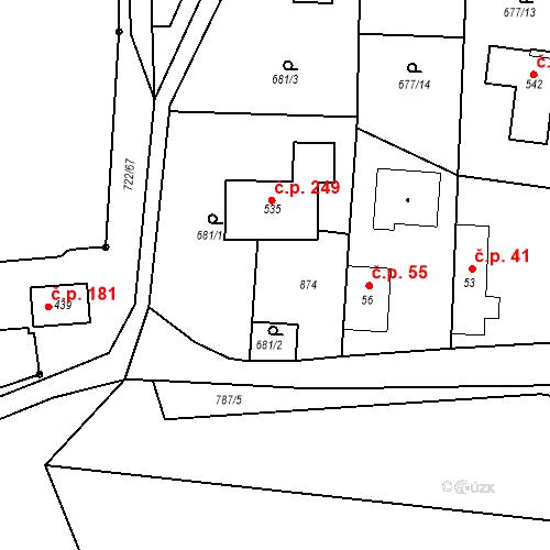 Katastrální mapa Stavební objekt Kozly 49, Tišice