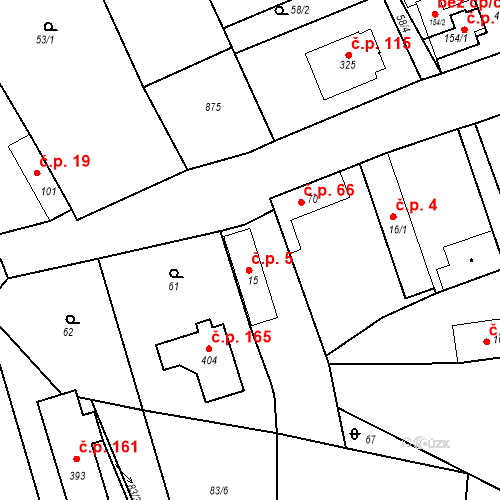 Katastrální mapa Stavební objekt Kozly 5, Tišice