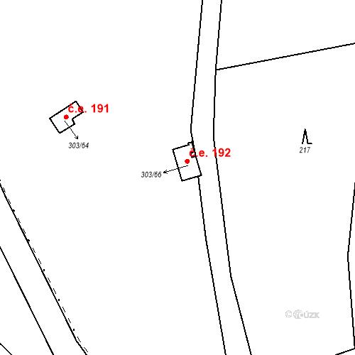 Katastrální mapa Stavební objekt Kozly 192, Tišice