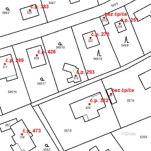 Katastrální mapa Stavební objekt Chrást 293, Tišice