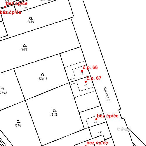 Katastrální mapa Stavební objekt Tišice 66, Tišice