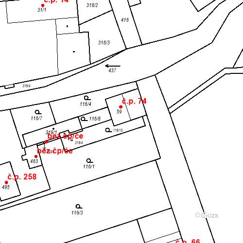 Katastrální mapa Stavební objekt Tišice 74, Tišice