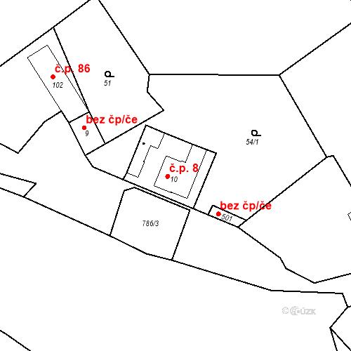 Katastrální mapa Stavební objekt Kozly 8, Tišice