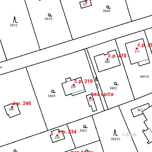 Katastrální mapa Stavební objekt Chrást 219, Tišice
