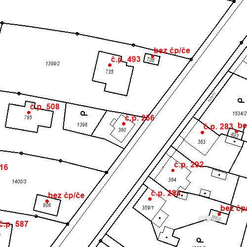 Katastrální mapa Stavební objekt Bystřice 256, Bystřice