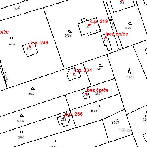 Katastrální mapa Stavební objekt Chrást 234, Tišice