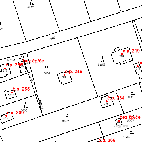 Katastrální mapa Stavební objekt Chrást 246, Tišice