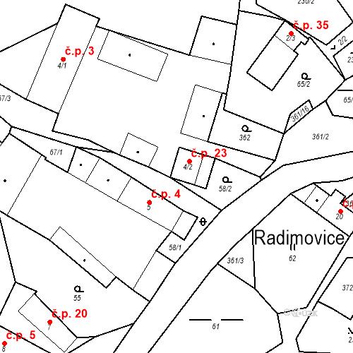 Katastrální mapa Stavební objekt Radimovice 23, Petříkov