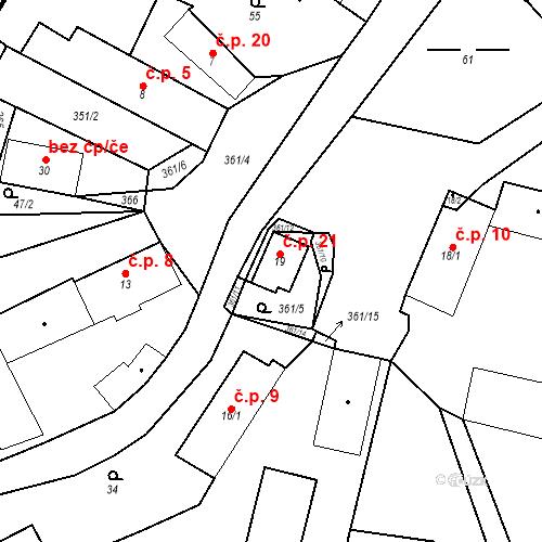 Katastrální mapa Stavební objekt Radimovice 21, Petříkov