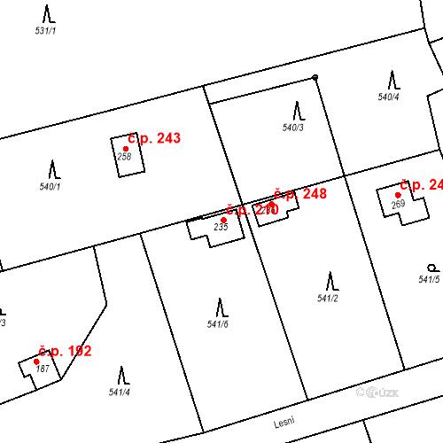 Katastrální mapa Stavební objekt Chrást 210, Tišice